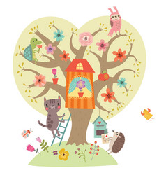 cute animals with tree vector image