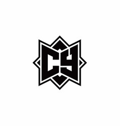 cy monogram logo with square rotate style outline vector image