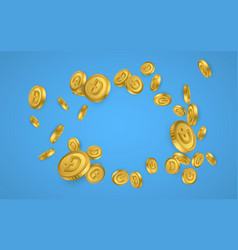 Dogecoin gold coins explosion isolated on blue vector