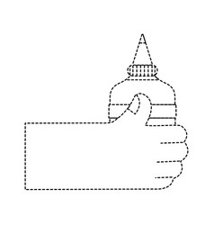 Dotted shape hand with glue school tool to study vector