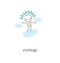 Eco man in the sky vector