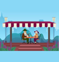 elderly couple people drink coffee together vector image