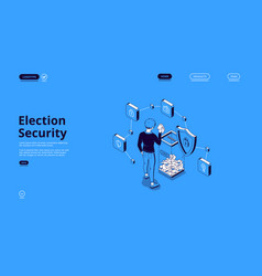 Election security isometric landing with voter vector