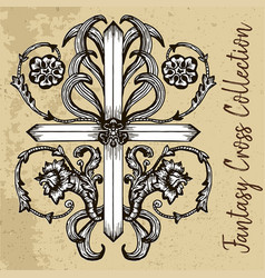 fantasy cross with floral pattern vector image