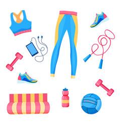 Female fitness equipment flat lay vector