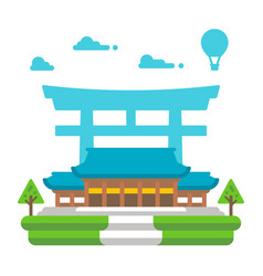 flat design meiji shrine tokyo vector image