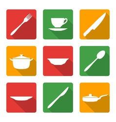 flat white dinnerwarwe icons vector image