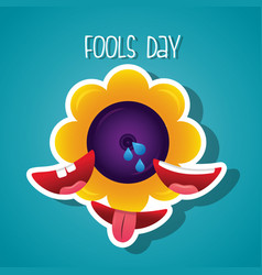 Flower prank and smile mouth fools day vector