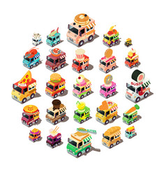 food truck icons set isometric style vector image