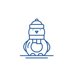 funny penguin line icon concept funny penguin vector image