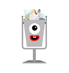 Garbage can with different types trash vector