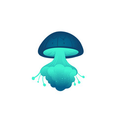 Glowing cartoon jellyfish isolated on white vector