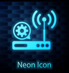 Glowing neon router and wi-fi signal and gear icon vector