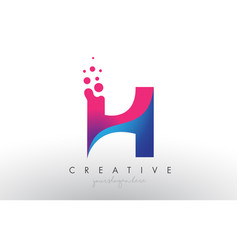H letter design with creative dots bubble circles vector