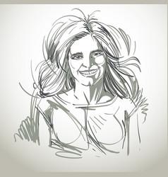 Hand-drawn portrait of white-skin smiling glad vector