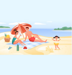 happy family on sea beach vacation cartoon flat vector image