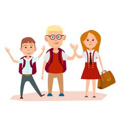 Happy schoolchildren with bags waving their hands vector