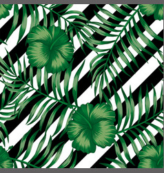 hibiscus green palm leaves seamless black white vector image
