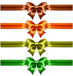 Holiday bows with glitter and ribbons vector image