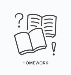 Homework workbook flat line icon outline vector