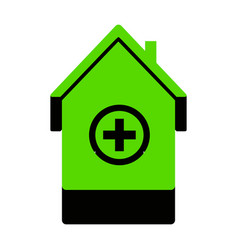 Hospital sign green 3d icon vector