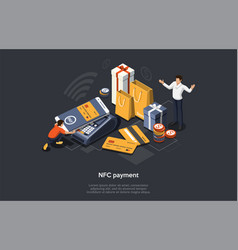 isometric nfc payment concept online mobile vector image