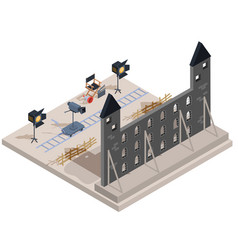 Isometric of a film set with a vector