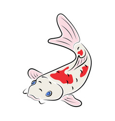 Japanese carp koi character abstract ink color vector