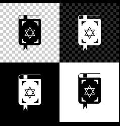 jewish torah book icon isolated on black white vector image