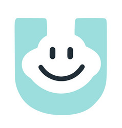 Letter u with a smile on the face character in vector