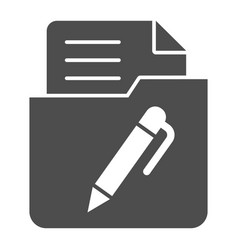 List in folder solid icon document with pen in vector