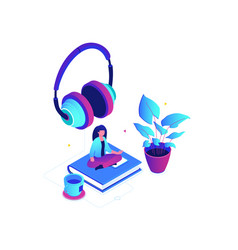 listening to music - modern colorful isometric vector image
