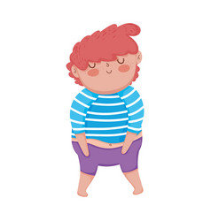 Little chubby boy character vector