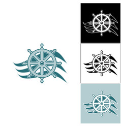 logo marine helm on the wave vector image vector image