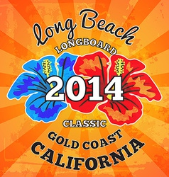 Long Beach surfing artwork vector image