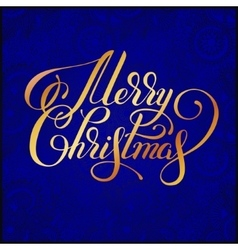 Merry Christmas gold calligraphic hand lettering vector image