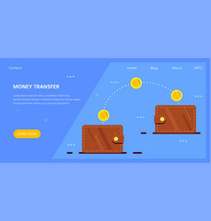money transfer with electronic wallet flat design vector image