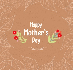 mothers day leaves border retro vector image
