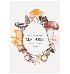Mushrooms trendy design autumn frame with vector