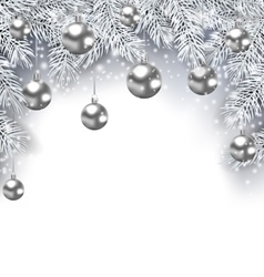 New Year Snowing Background with Silver Christmas vector