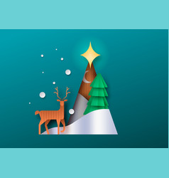 papercut christmas tree deer forest paper craft vector image