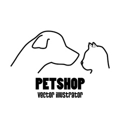 petshop dog and cat profile icon vector image
