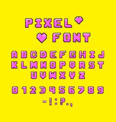 pixel font for video games vector image