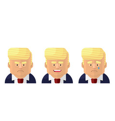 President flat graphic emoji icon set vector