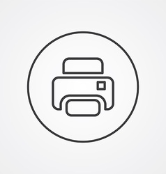 printer outline symbol dark on white background vector image