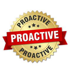 Proactive round isolated gold badge vector