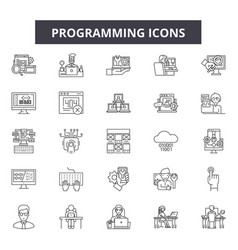 programming line icons signs set outline vector image