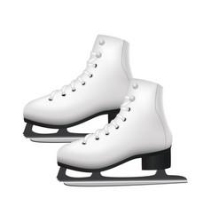 realistic 3d detailed white figure skates vector image