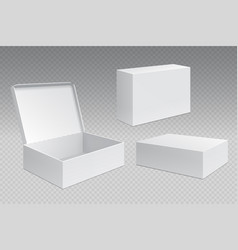 realistic packaging boxes white open cardboard vector image
