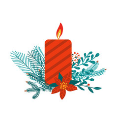 red christmas candle isolated on white festive vector image